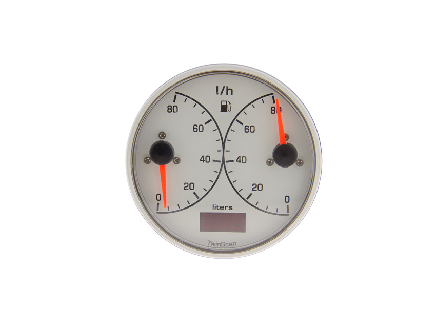 3FW028M2-twin-scan lph meter in white - flow 0/80 l-seimi