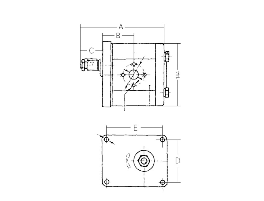 AP2004R-gear pump - group 2 - capacity (cm3) : 4,5-seimi