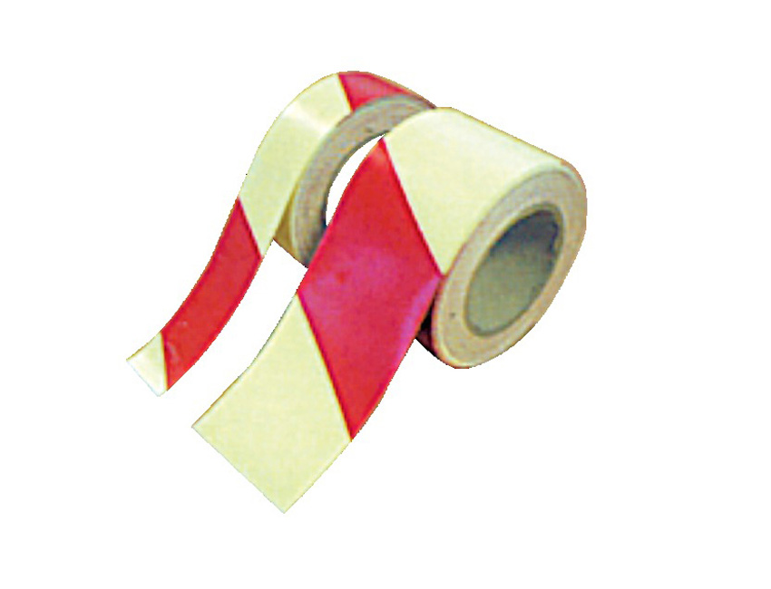 PV2054-red diagonal photoluminescent tape   photoluminescent self adhesive vinyl, highlighting fire fighting equipment and hazard marking   40mm wide x 10m-seimi