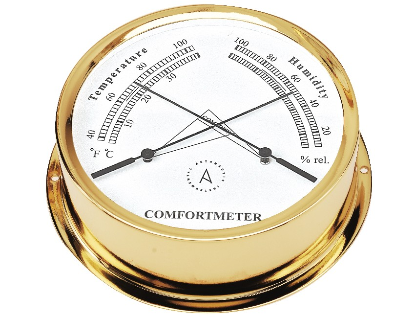 TH120D-thermometer / hygrometer polished brass - 120mm-seimi